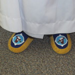 Archbishop Fred Hiltz wore custom moccasins throughout the celebration.