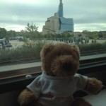 While enjoying breakfast on the train, HB rolls past the new Museum of Human Rights in Winnipeg.
