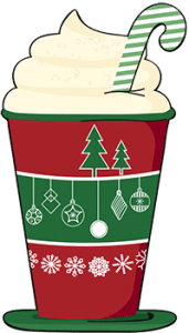 Illustration of a cup of hot chocolate in a Christmas cup with whipped cream and an candy cane.
